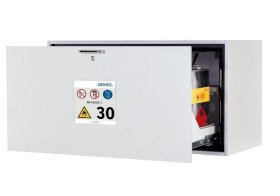 Fire resistant underbench cabinet GU 110, type 30, with 1 slide-out sump pallet, grey-w280px