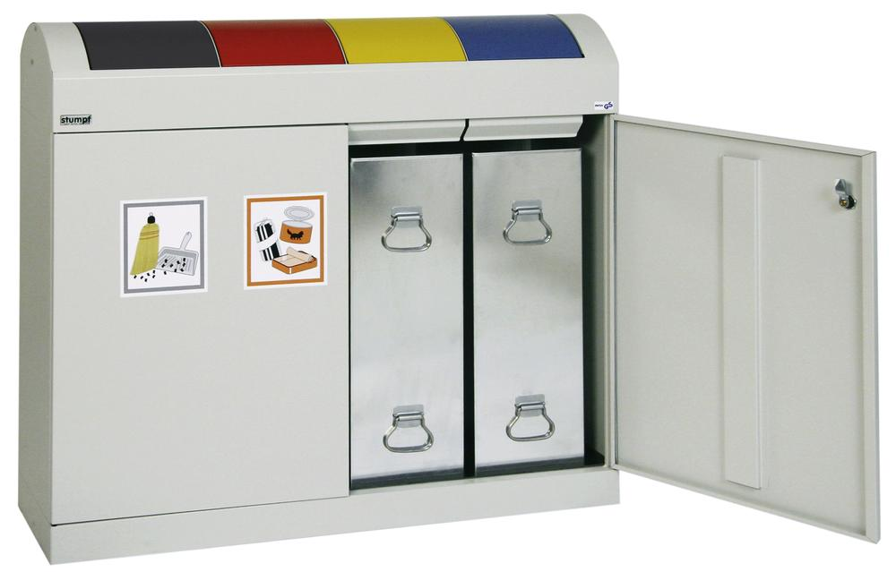 Fire retardant modular recycling system, steel, with 4 x 45 litre capacity inner bins - 1