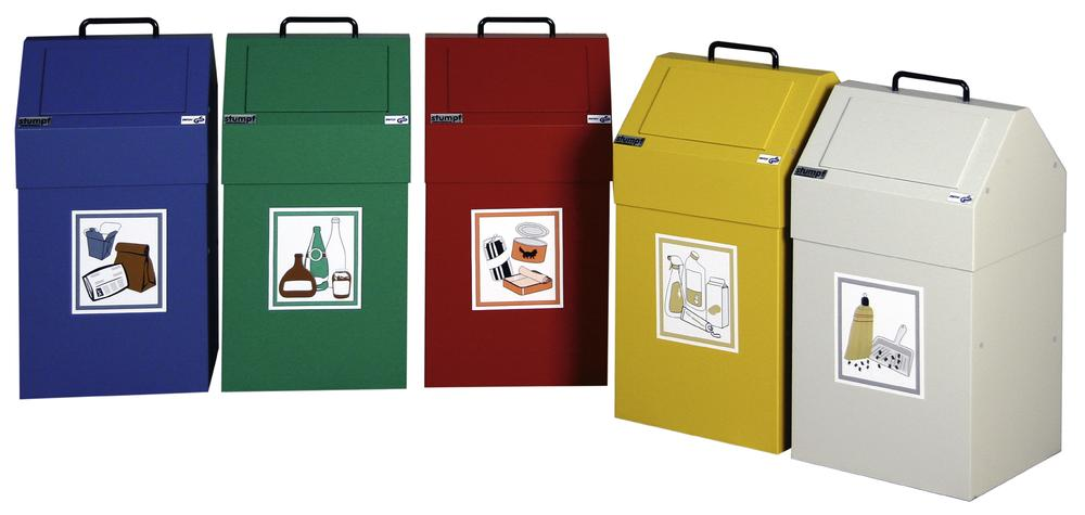 Fire retardant waste separation container AB 45-S, steel, sack holder, stationary, 45 ltre, red - 1