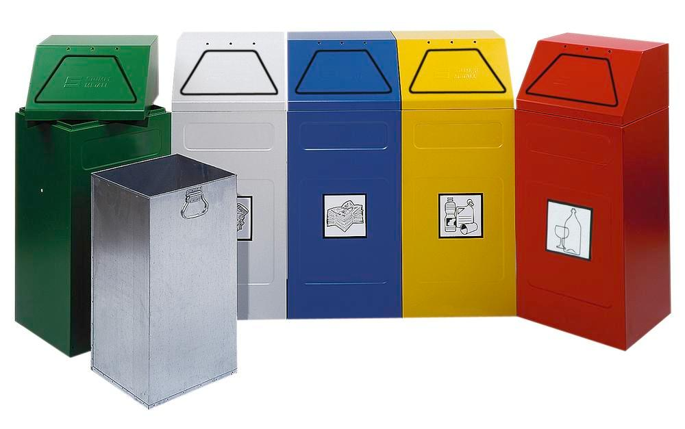 Fire retardant waste separation container AB 65-B, steel, inner bin, stationary, 65 ltre, grey - 1