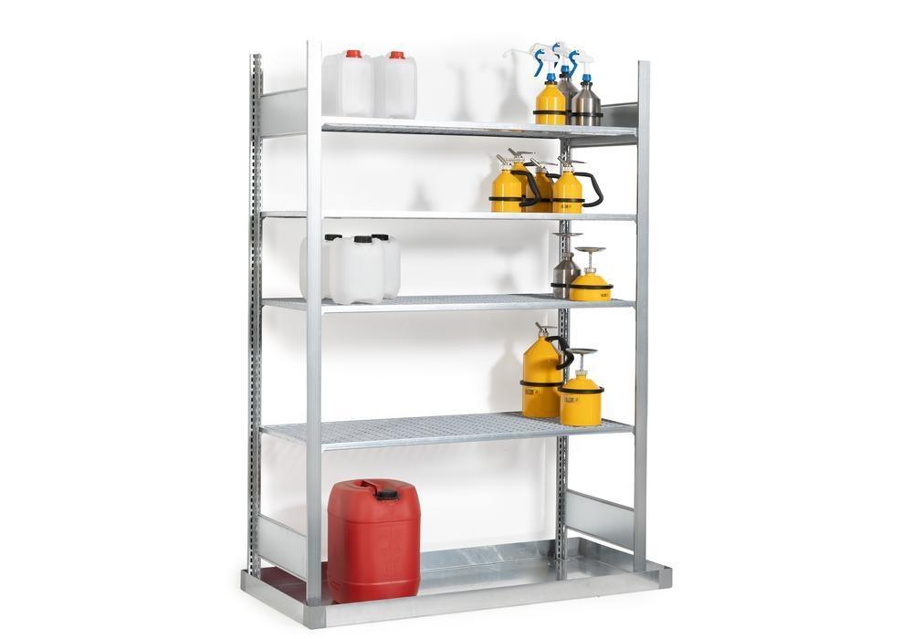 Hazmat rack GRB 1340 f. flammable substances, with spill pallet, 1456 x 526 x 2000 mm, basic