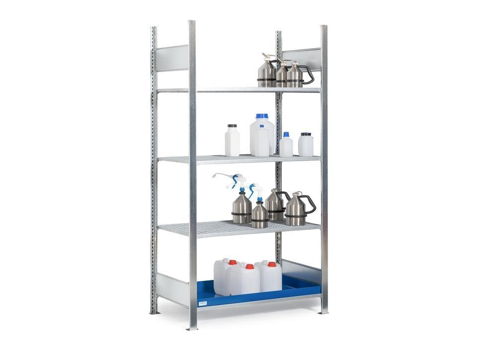 HazMat rack GRG 1040 for flamm substances, 3 grids, 1060 x 440 x 2000 mm, basic shelf unit