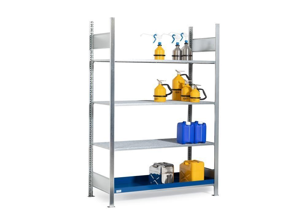 HazMat rack GRG 1360 for flamm substances, 3 grids, 1360 x 640 x 2000 mm, basic shelf unit