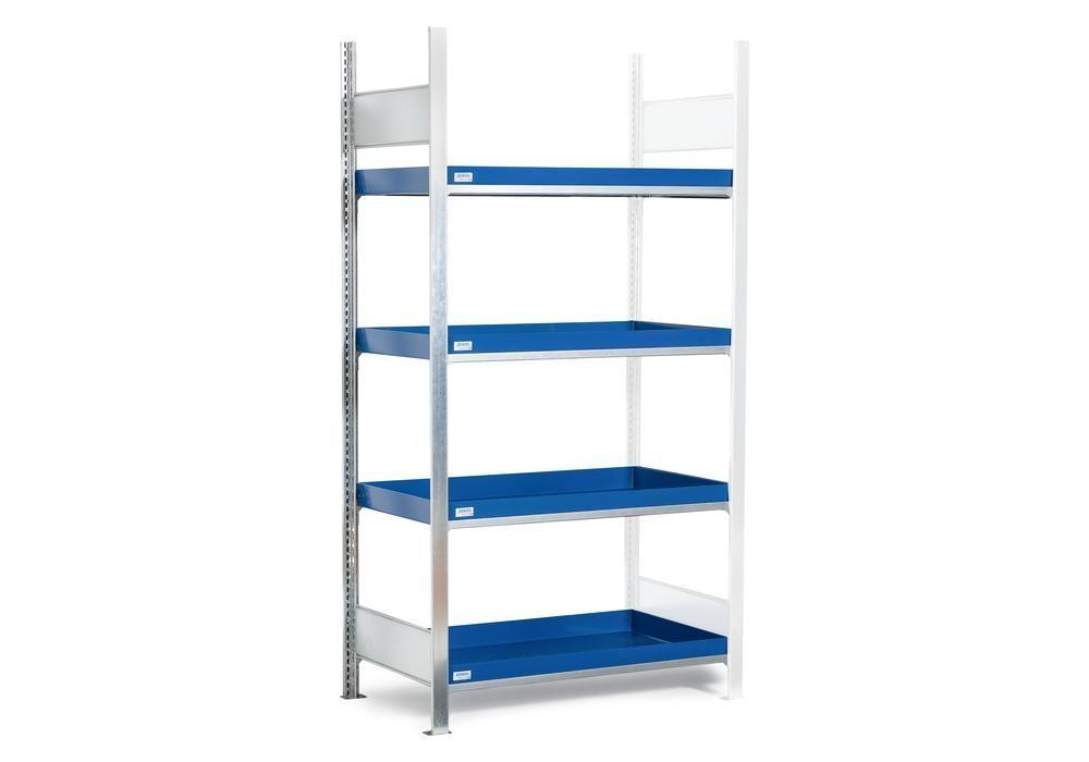 HazMat rack GRW 1040 water-polluting substs, 4 st spill trays, 1010 x 440 x 2000 mm, ext shelf unit