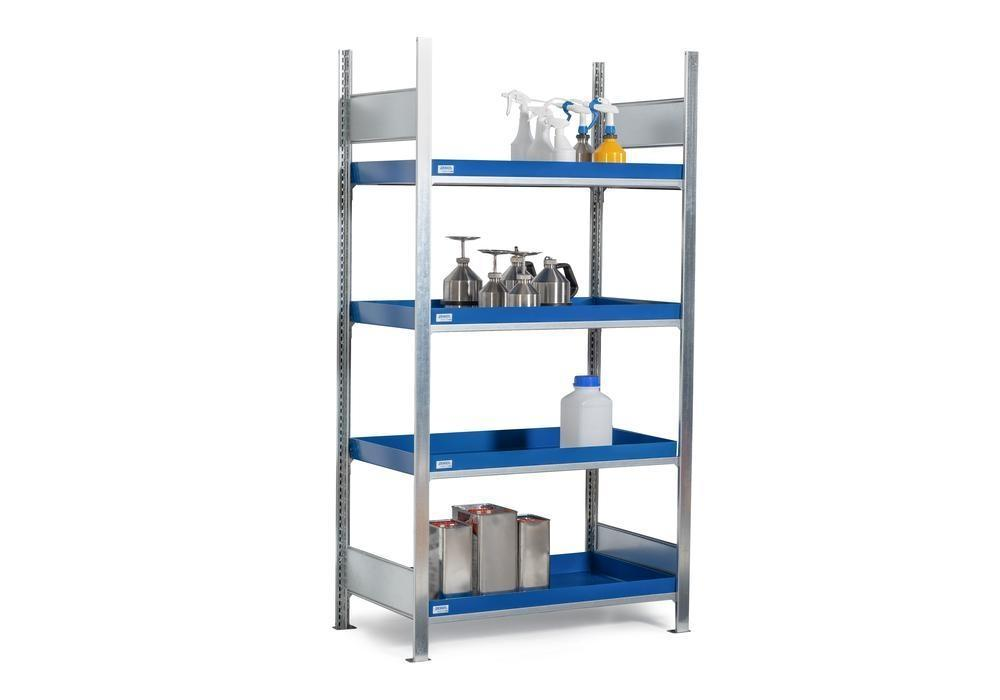 HazMat rack GRW 1060 water-polluting substs, 4 st spill trays, 1010 x 640 x 2000 mm,basic shelf unit