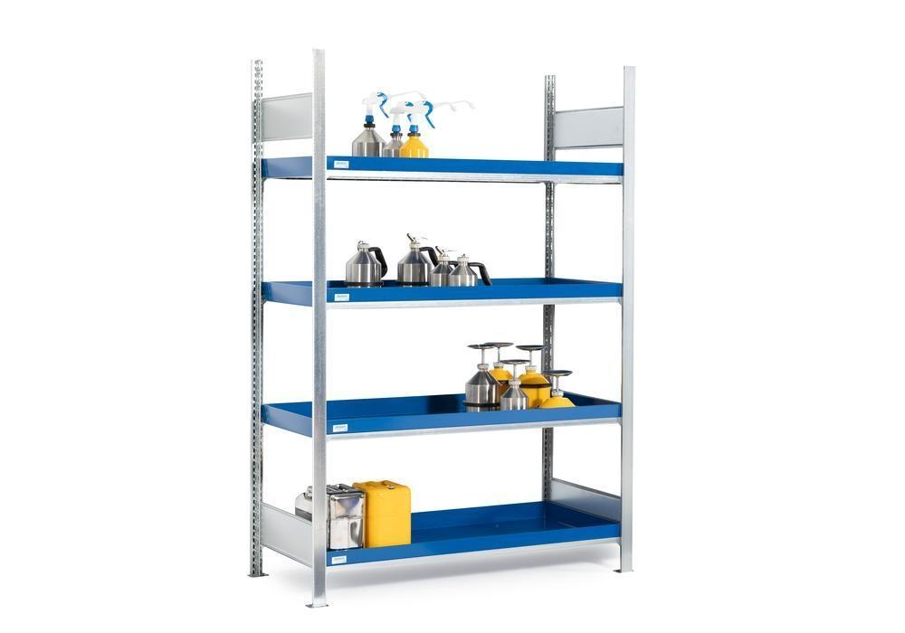 HazMat rack GRW 1340 water-polluting substs, 4 st spill trays, 1010 x 440 x 2000 mm,basic shelf unit