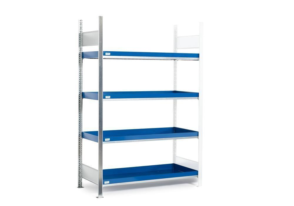 HazMat rack GRW 1360 water-polluting substs, 4 st spill trays, 1310 x 640 x 2000 mm, ext shelf unit