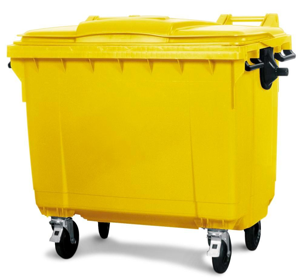 Large wheelie bins made from Polyethylene (PE), 1100 litre volume, yellow