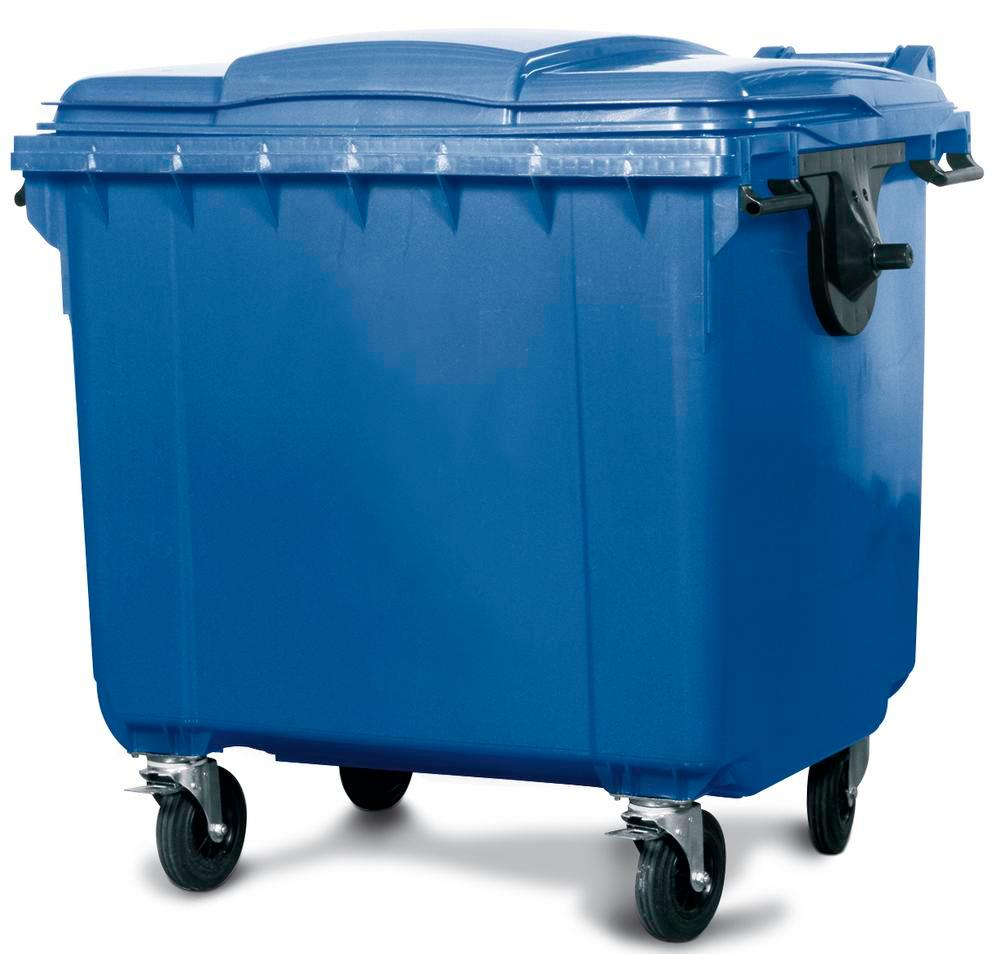 Large wheelie bins made from Polyethylene (PE), 660 litre volume, blue