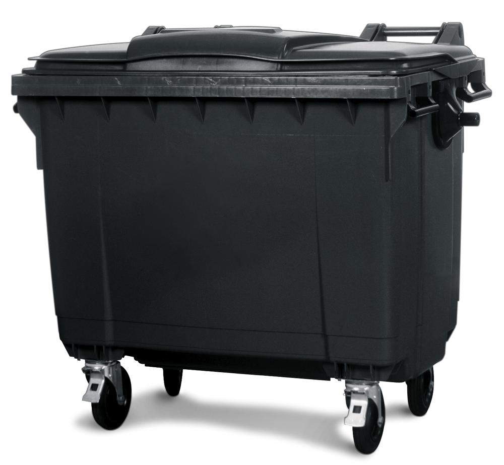 Large wheelie bins made from Polyethylene (PE), 660 litre volume, grey