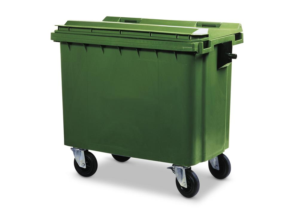 Large wheelie bins made from Polyethylene (PE), 770 litre volume, green