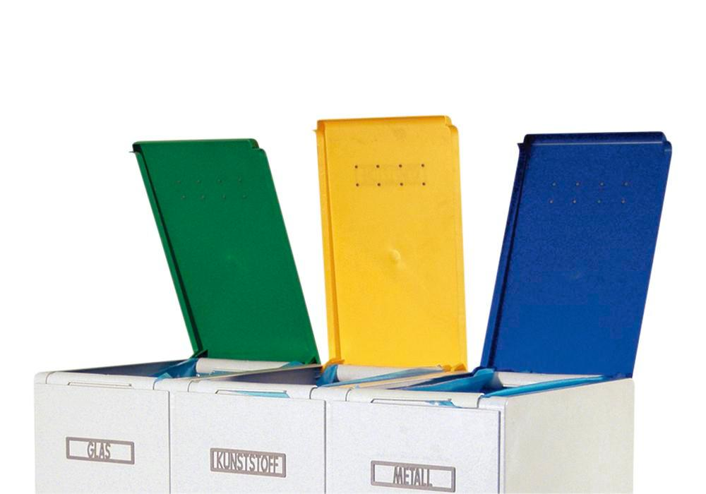 Lid for modular waste collection system for recyclable materials, 60 litres, yellow