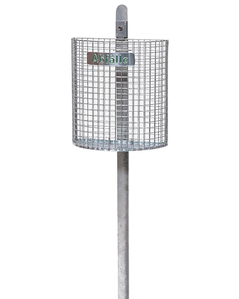 Mesh bin, galvanized, half-round, can be mounted to iron post or wall, 27 litre capacity