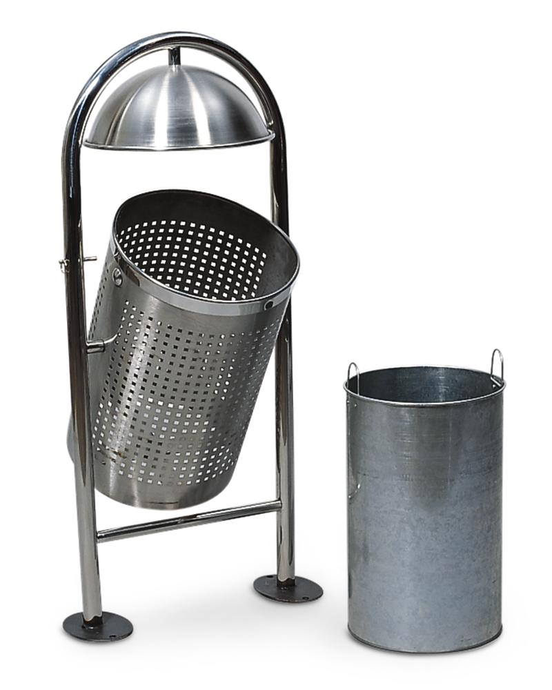 Outdoor waste bin, stainless steel, with hood and tip device, 45 litre capacity