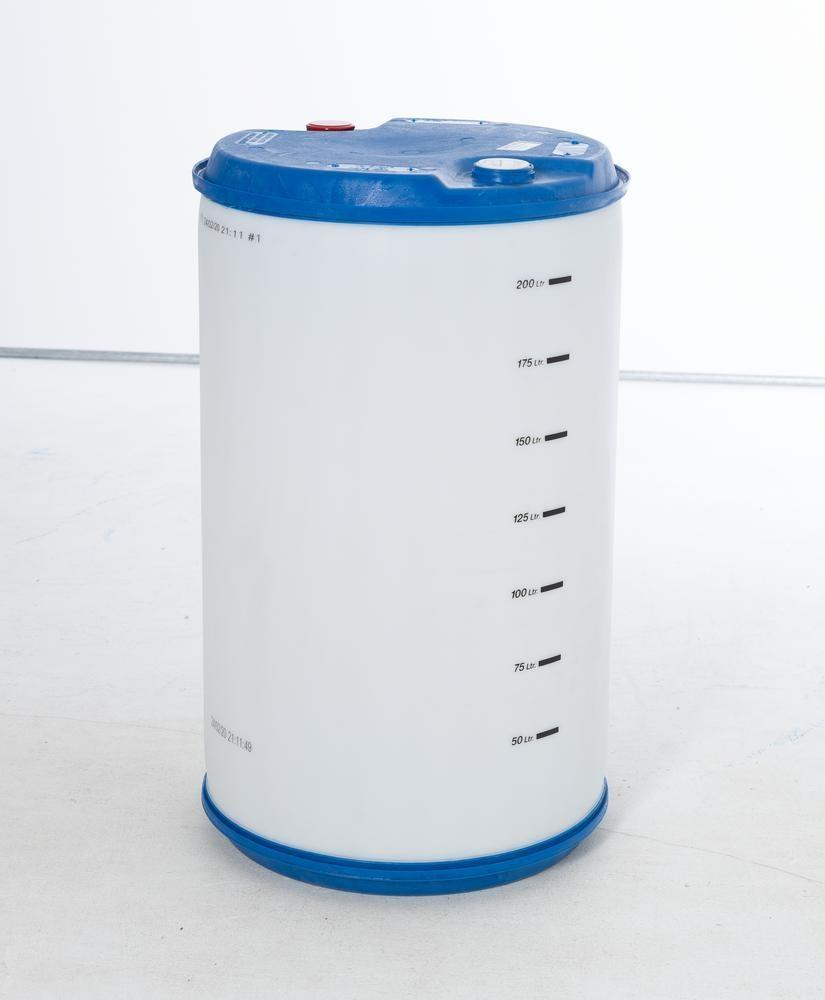 """Plastic bung drum with scale, 220 litre, bung thread 2'' coarse and 2"""" Trisure"""
