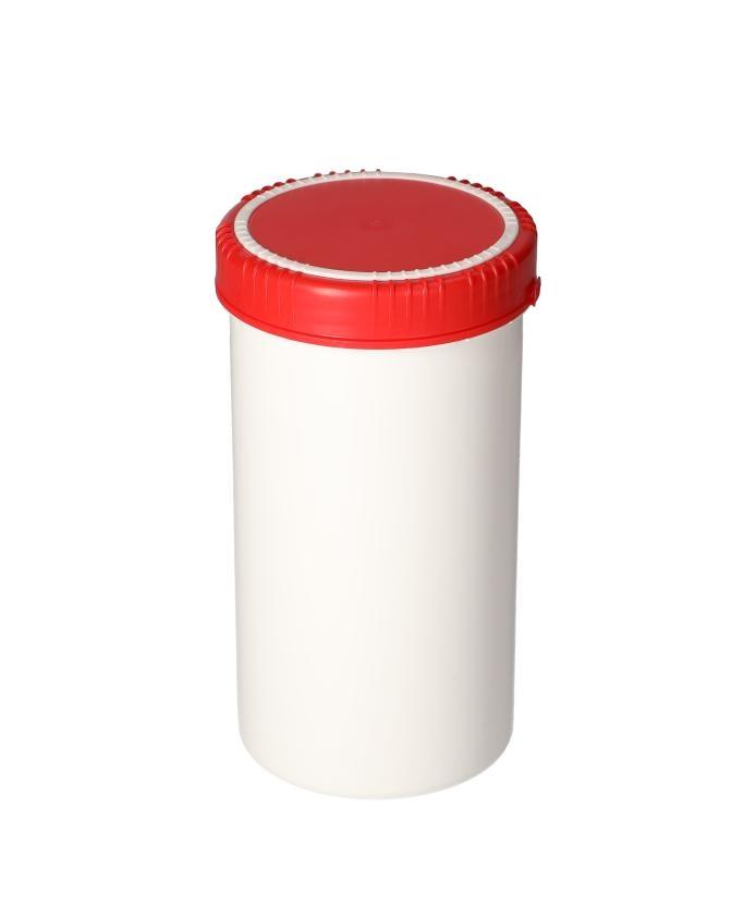 Plastic cans in HDPE with lid, round, natural-transparent, 1300 ml, with UN approval, 5 pieces