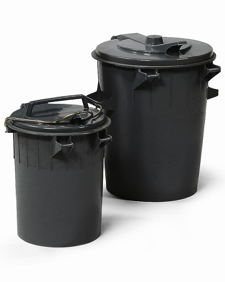 Round dustbin, polyethylene, with lid, 35 litre capacity, black - 1