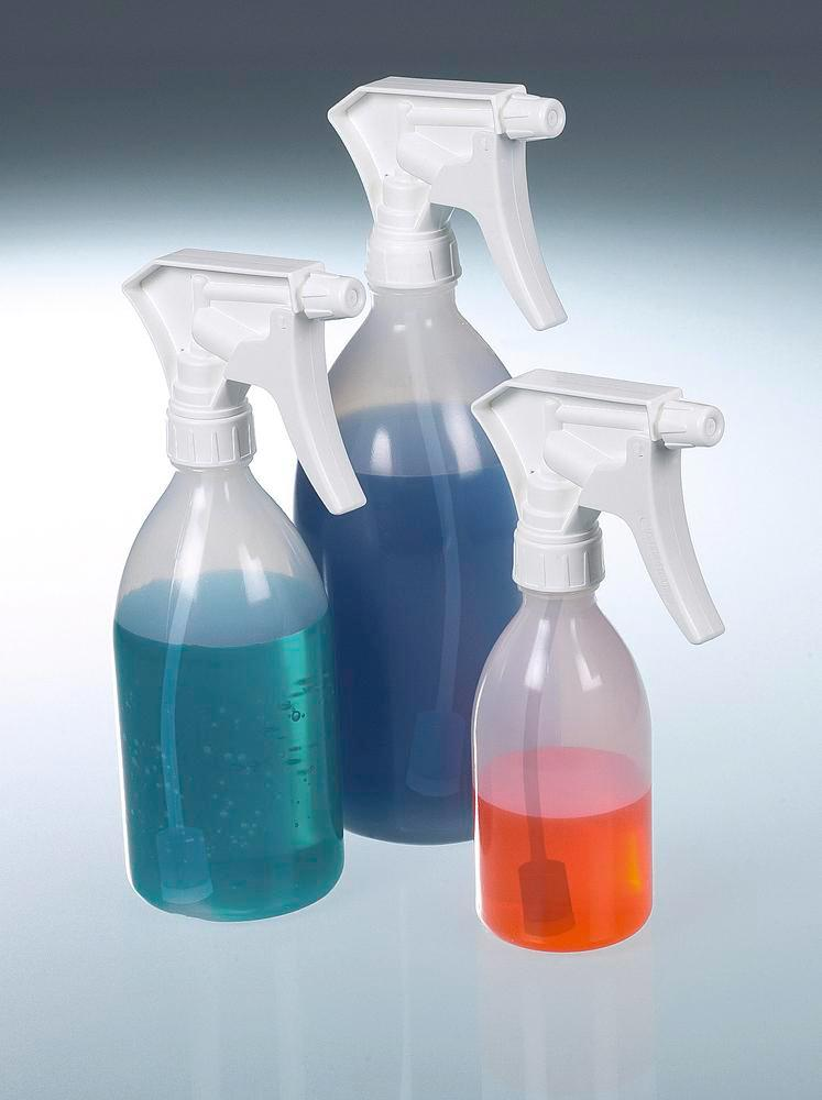 Spray bottle with inversion valve, in PP, PE and stainless steel, 0.25 litre volume