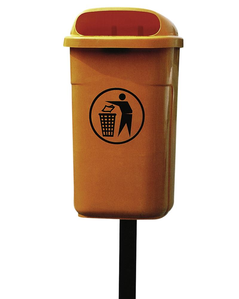 Steel post for waste bin in polyethylene (PE), for setting in concrete, including fitting kit