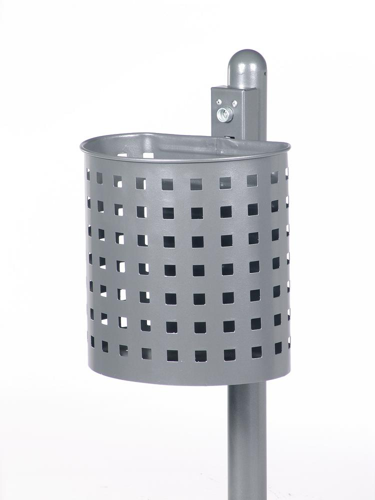 Waste bin, galvanized steel, perforated design with wall mounting bracket, 20 litre capacity