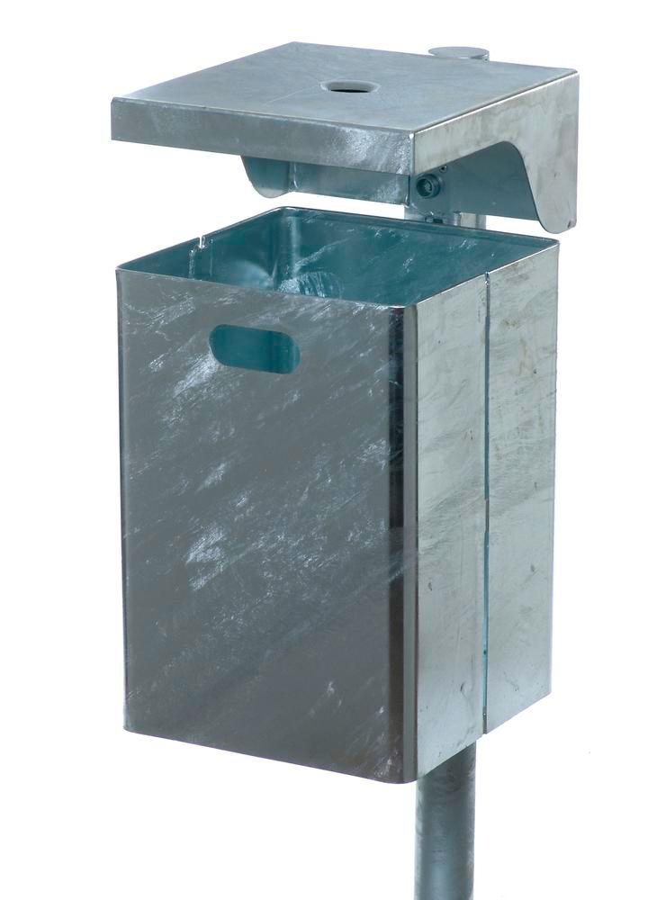 Waste bin galvanized steel, with ash tray, with protective cover, 40 litre capacity
