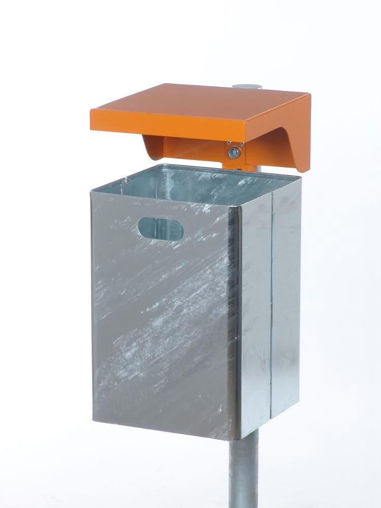 Waste bin in steel, with protective cover, 50 litre capacity, orange