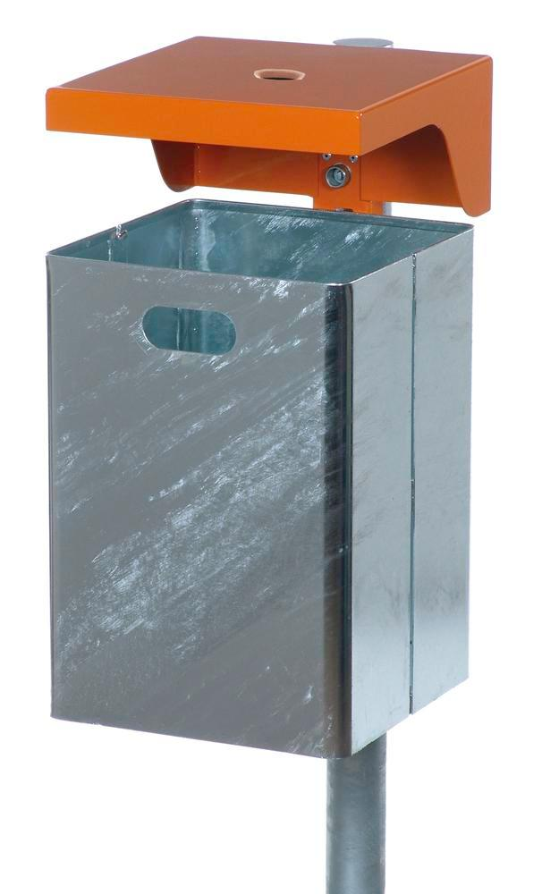 Waste bin in steel, with protective cover and ashtray, 40 litre capacity, orange
