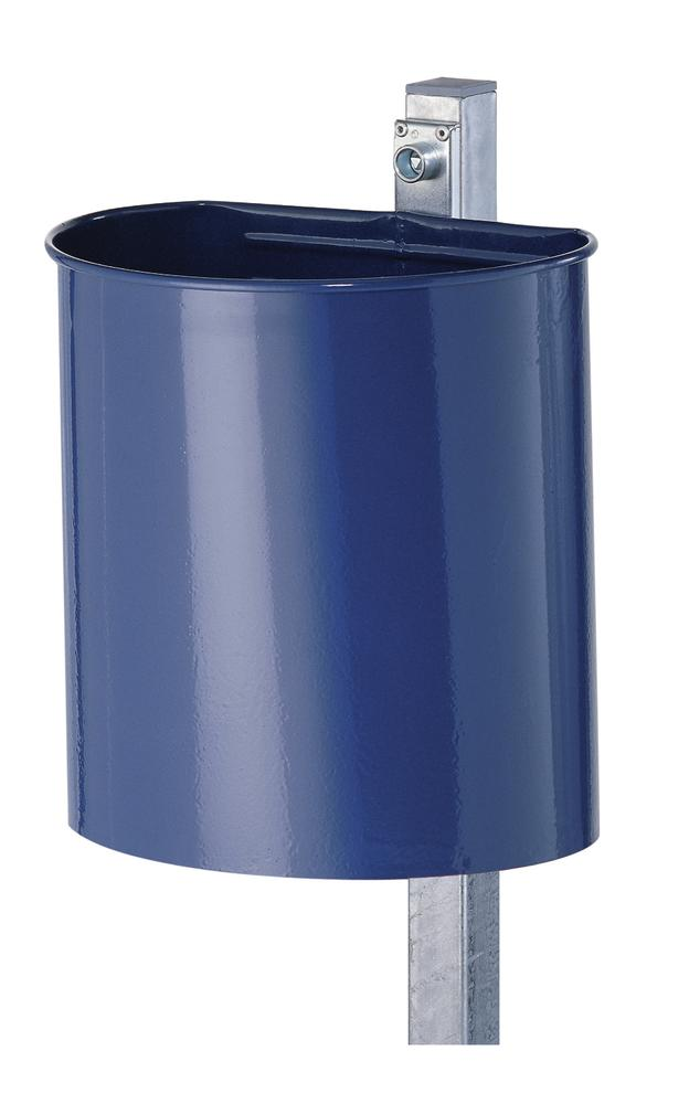 Waste bin, painted steel, closed design with wall mounting bracket, 20 litre capacity, blue