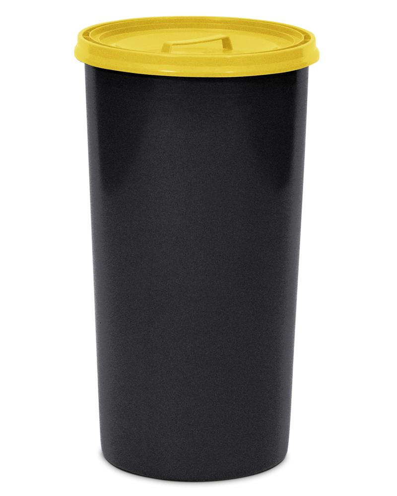 Waste bin, polyethylene, with lid, 60 litre capacity, black