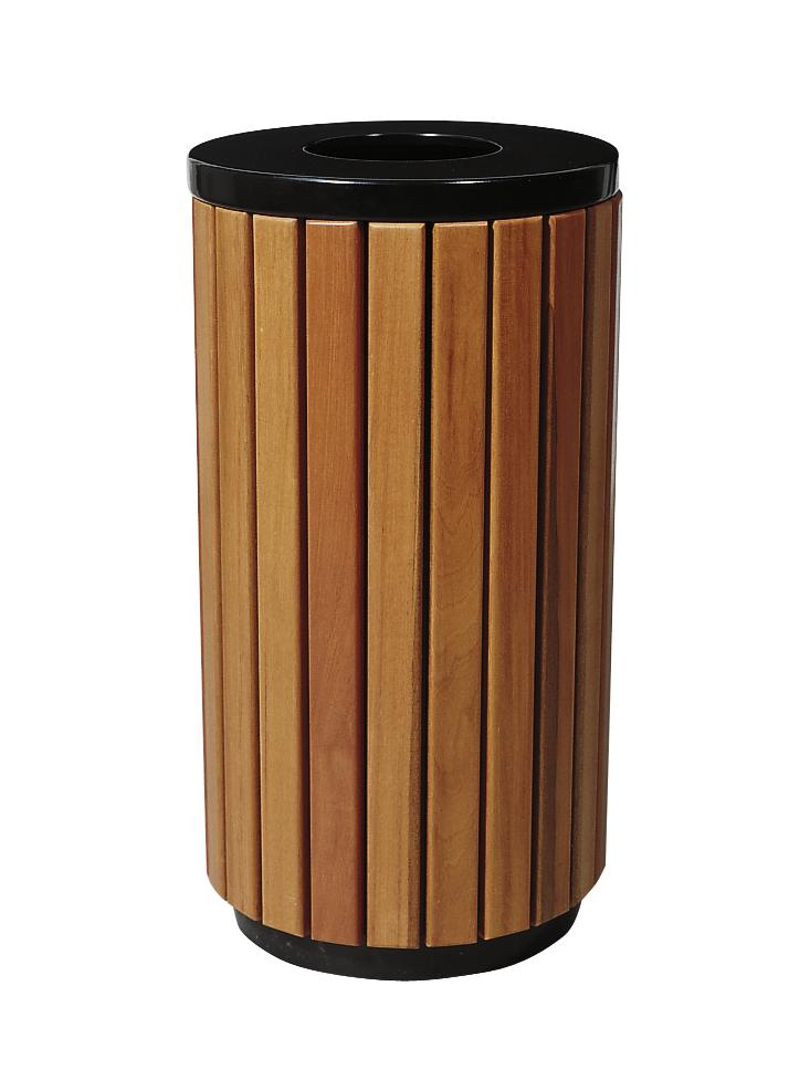 Waste bin, steel frame with wooden panels, round, removable internal container, 25 to 50 litres