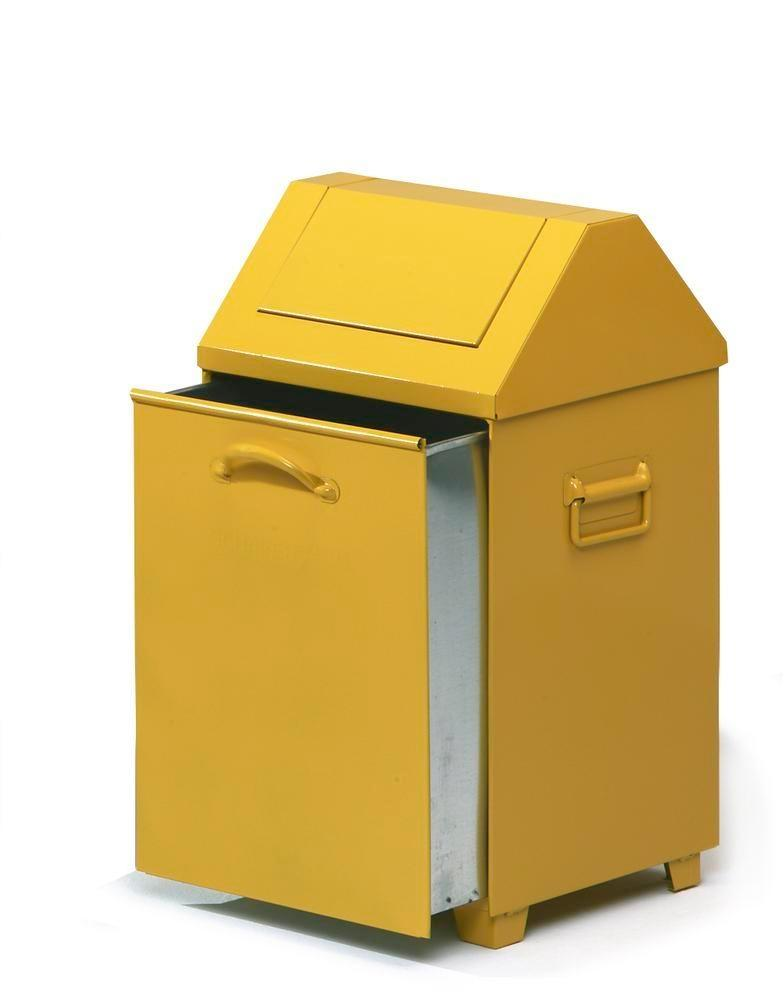 Waste container AB 100-V, sheet steel, self-closing flap, 95 litre capacity, yellow