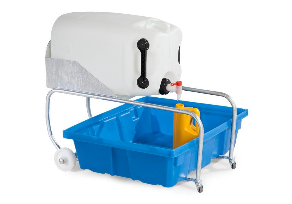 Carboy tipper, galvanised, for 60 litre plastic carboys, incl. spill pallet in polyethylene (PE)