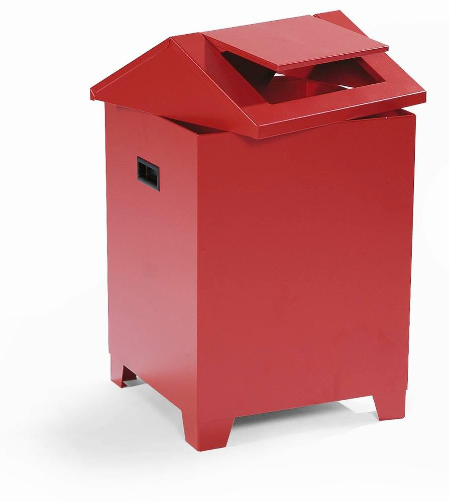 Container for cotton waste, sheet steel, self extinguishing with swing lid, red