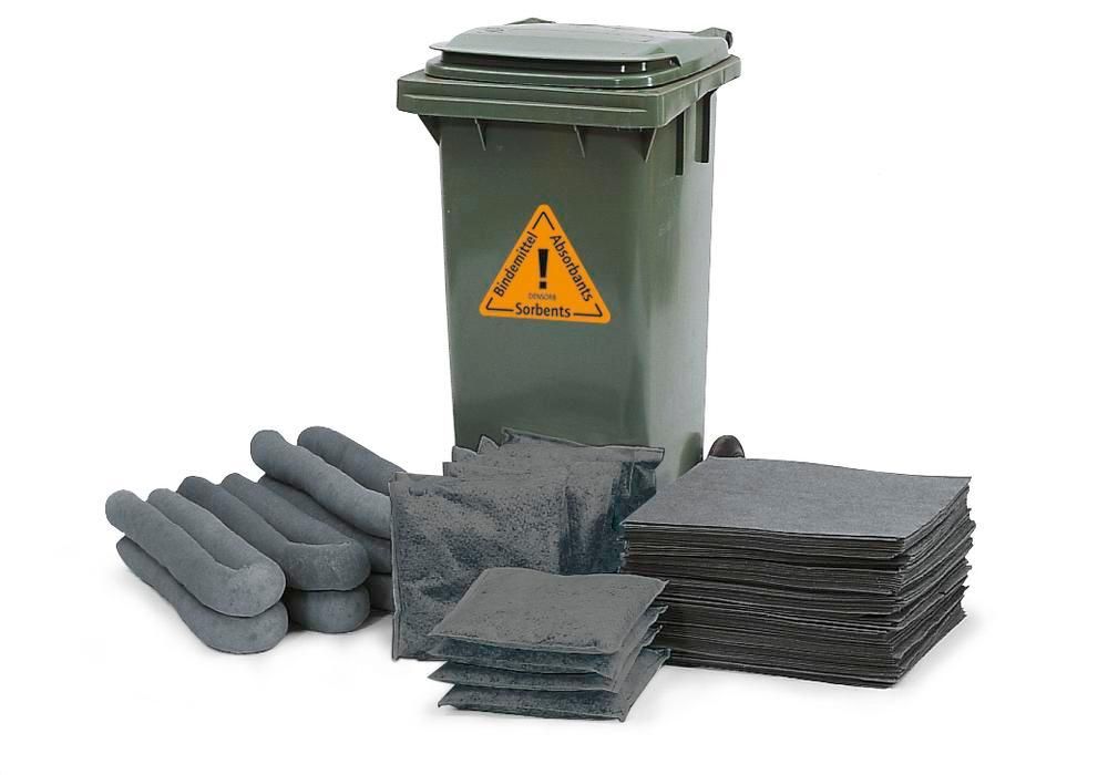 DENSORB Emergency Spill Kit in a Wheelie Bin, Type B 12, application UNIVERSAL