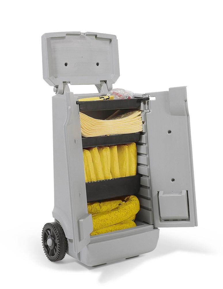 DENSORB Emergency Spill Kit in red transport trolley A, application SPECIAL
