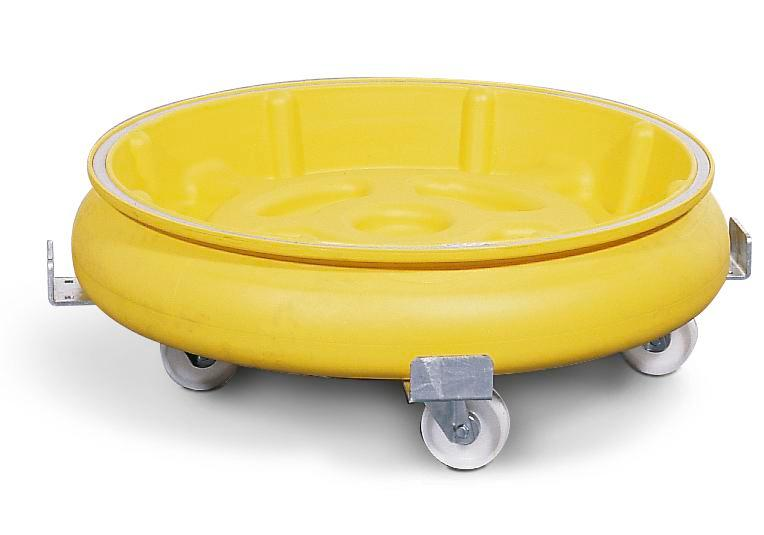 Drum dolly with spill pallet in polyethylene (PE), yellow - 2
