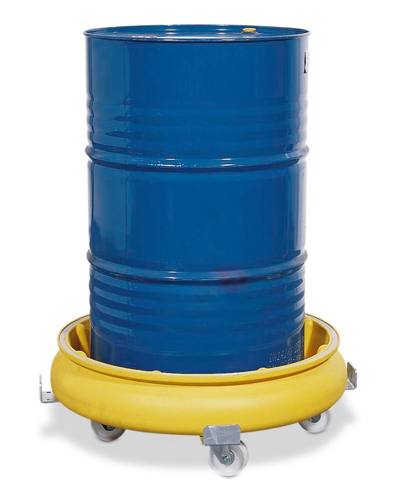 Drum dolly with spill pallet in polyethylene (PE), yellow