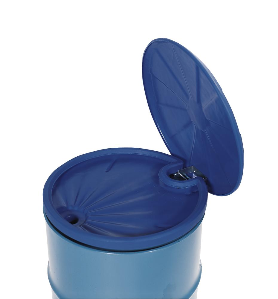 Drum funnel in polyethylene (PE), round, 5 L volume, with lid
