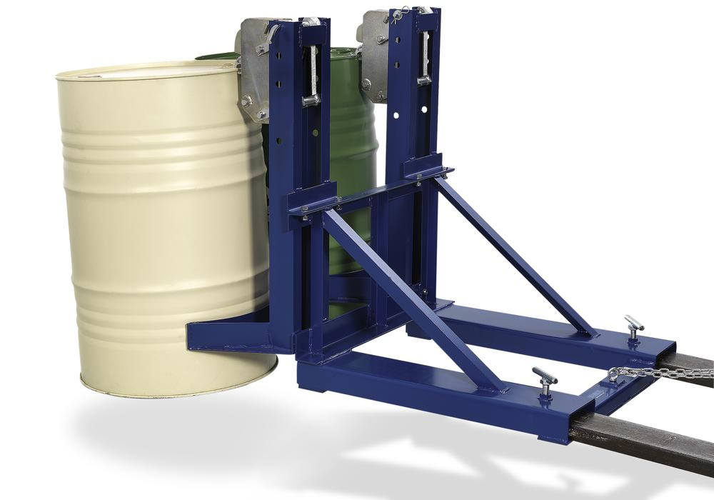 Drum gripper, SH 2, made from steel, painted, for 2 drums each holding 205 litres