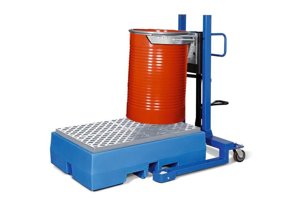 Drum lifter Servo, drum clamp, 205 litre steel drums, wide chassis, lift height 0-520 mm