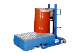 Drum lifter Servo, drum clamp, 205 litre steel drums, wide chassis, lift height 0-520 mm-w280px