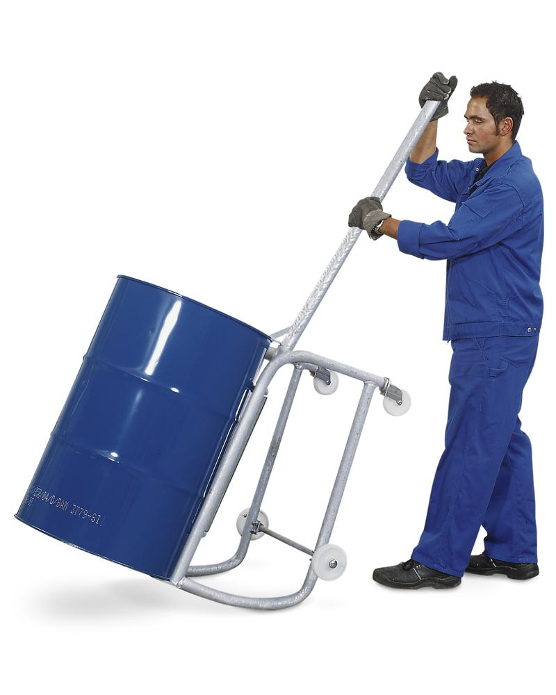 Drum tip cart with handle, made from steel, for 1 x 205 ltr drum, with drum roller supports and sump - 3
