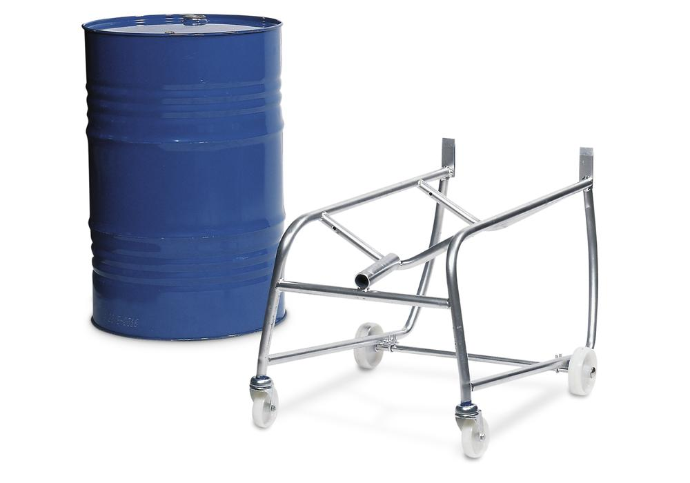 Drum tip cart with handle, made from steel, for 1 x 205 ltr drum, with drum roller supports and sump