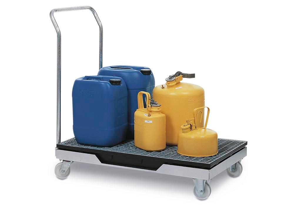Mobile sump with handle and galvanized grid