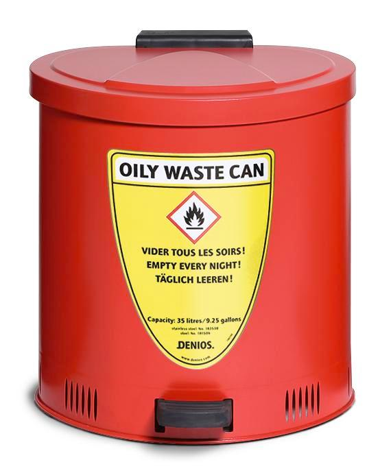 Safe disposal bin 35 l, steel, red
