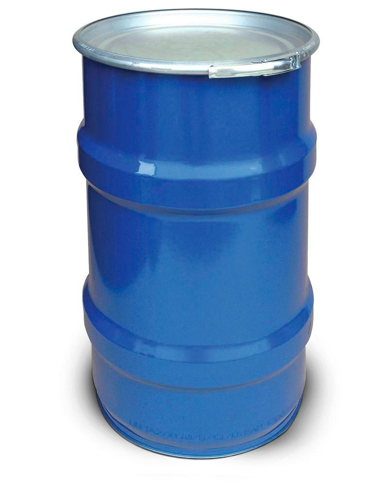 Steel lid drum, 120 litre capacity, interior and exterior painted, UN approved