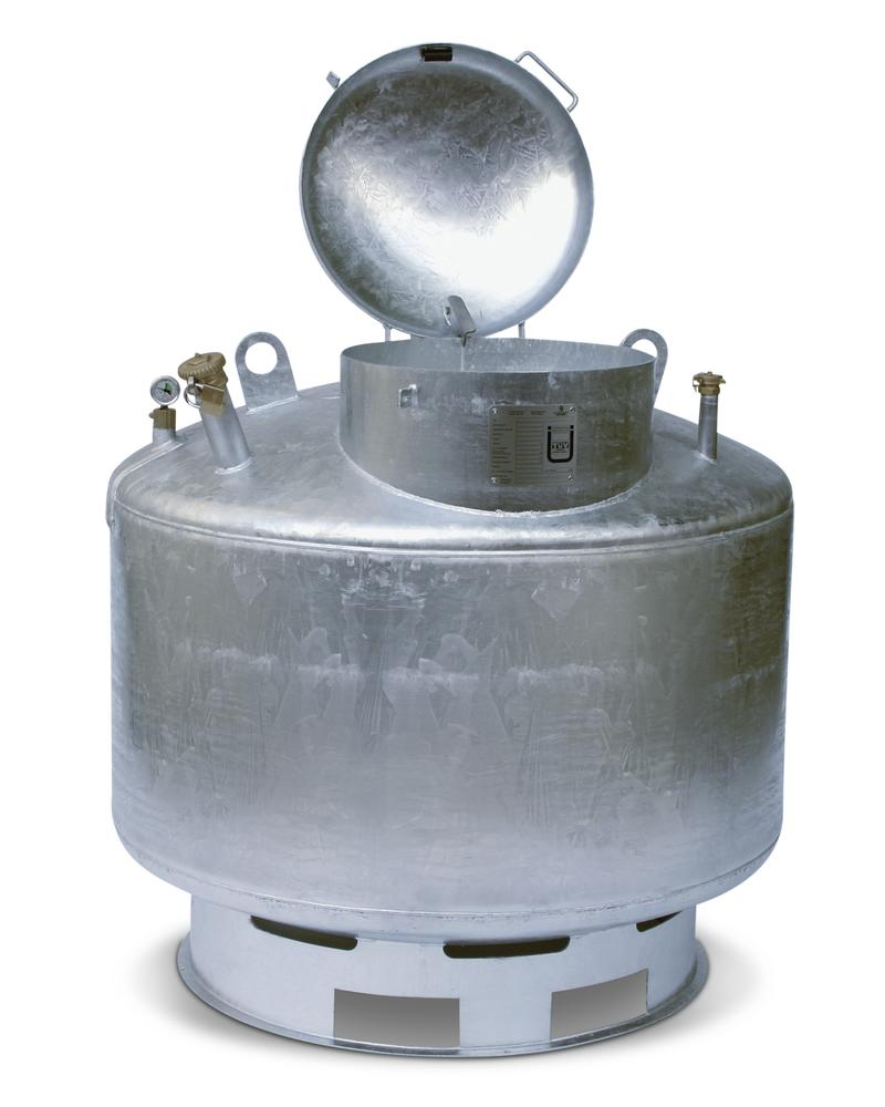 Waste oil collector in steel, with integrated funnel, 400 litre capacity