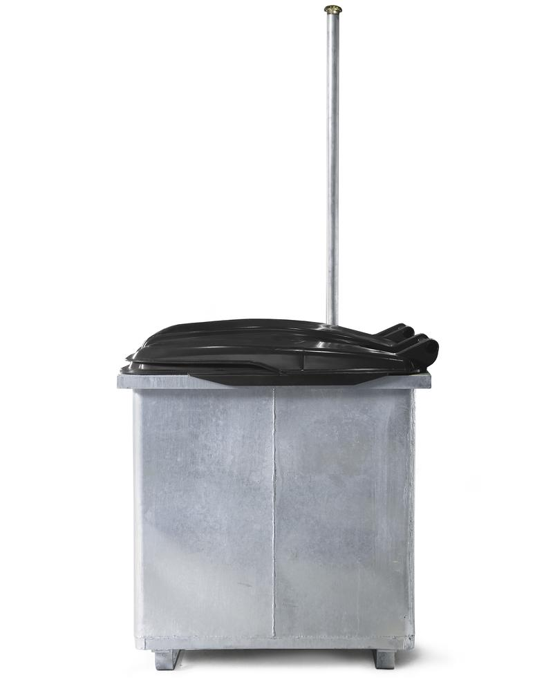 Waste oil container in steel, galv., with protective plastic cover & dipstick, 800 litre capacity