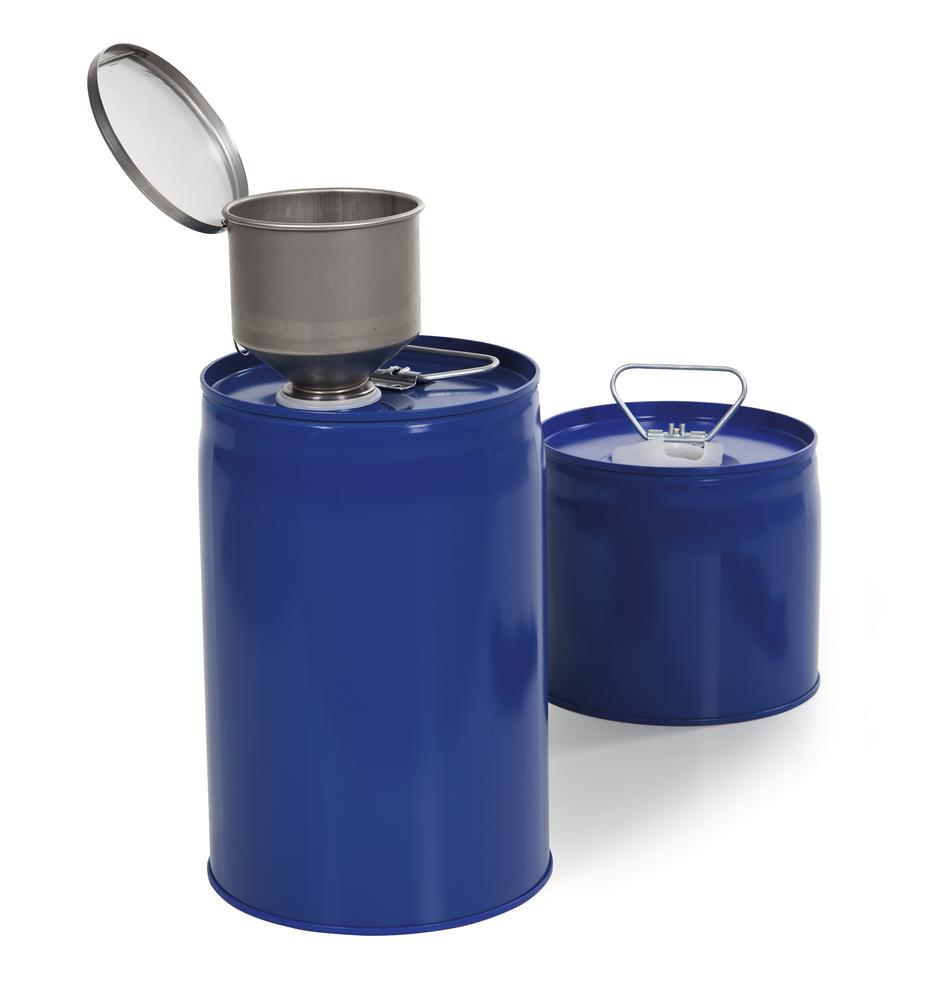 2 Safety combi container, painted steel with PE inner bladder, contains 6 litres.