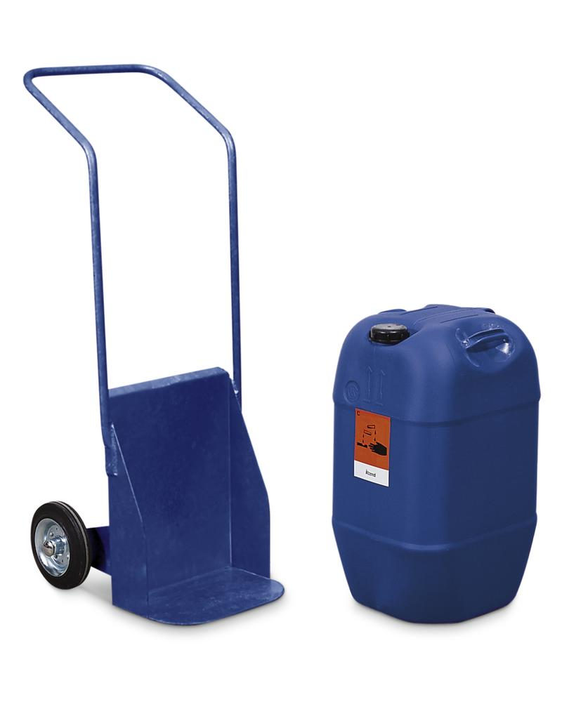 Carboy trolley BK-60, painted blue, solid rubber wheels, for containers up to 60 litre, anti-static - 1